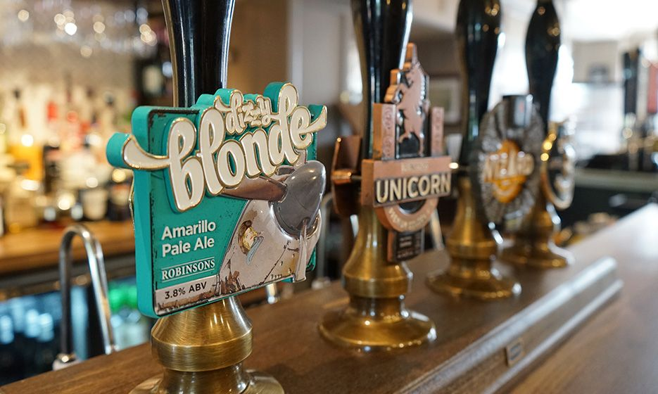 A picture of our award-winning cask ales at the [name]